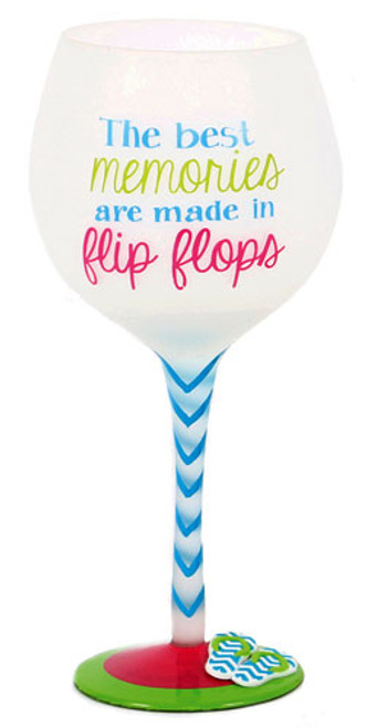 Flip Flop Memories Hand Painted Wine Glass 18oz 60340M