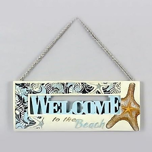 Welcome to the Beach Wood Sign 13512