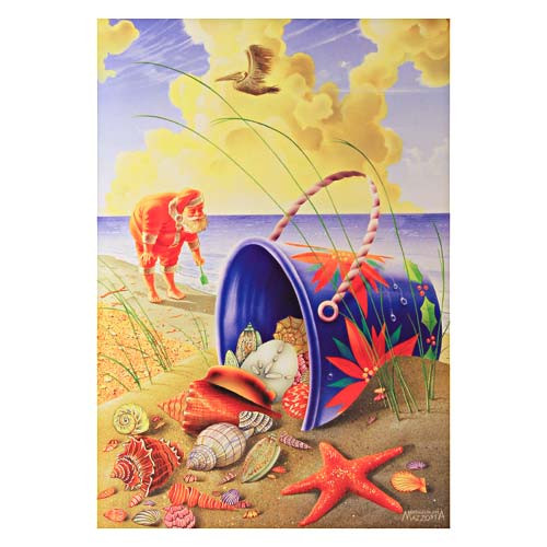 Santa Shell Beach Pail Holiday Christmas Cards Box of 10