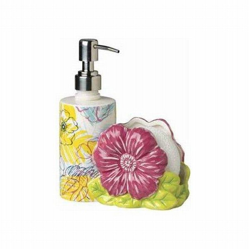 Tropical Hibiscus Flower Pump Dispenser with Scrubby Holder - 13580