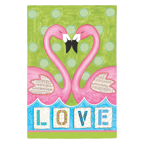 Love Flamingos House Flag 13S2398