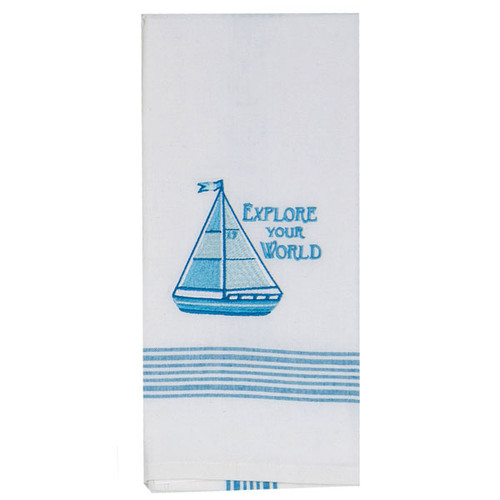 Sail Boat Embroidered Embroidered Tea Towel F0733