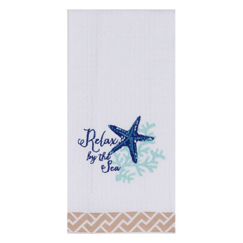 Relax By The Sea Embroidered Waffle Towel R2903