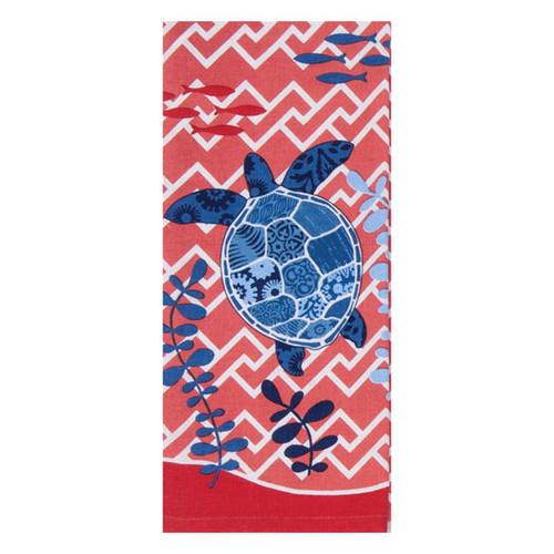 Sea Turtle Red Tea Towel R2928