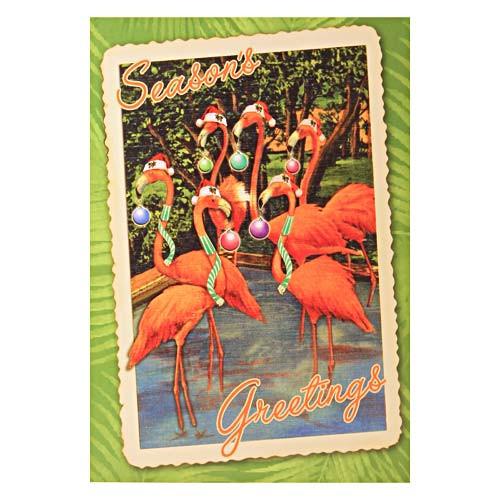 Flamingo Beach Holiday Season Greetings Single Christmas Card