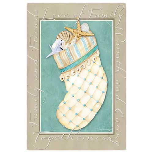 Beach Christmas Tree Stocking House Flag 14S2628FB