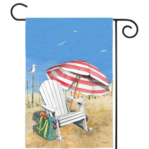 "Beach Chair Umbrella Garden Flag 12.5"" x 18"" 14A2515"