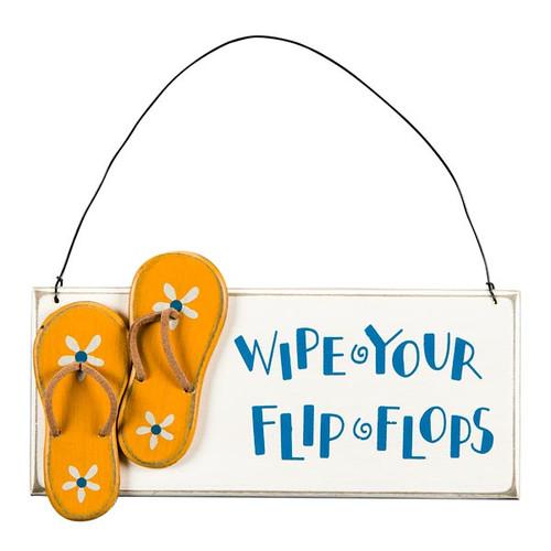 Wood Wipe your Flip Flops Sign 23832
