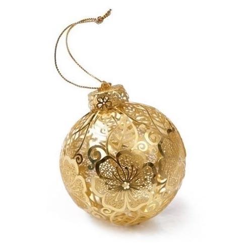 Hibiscus Filigree Metal Christmas Ornament