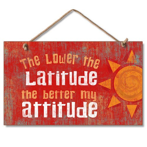 Beach Latitude Attitude Wood Sign 41-674