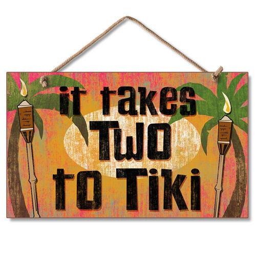 Two Tiki Wood Sign 41-676