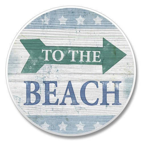 Rustic To the Beach Sign Absorbent Stone Coaster for Car Cup Holder