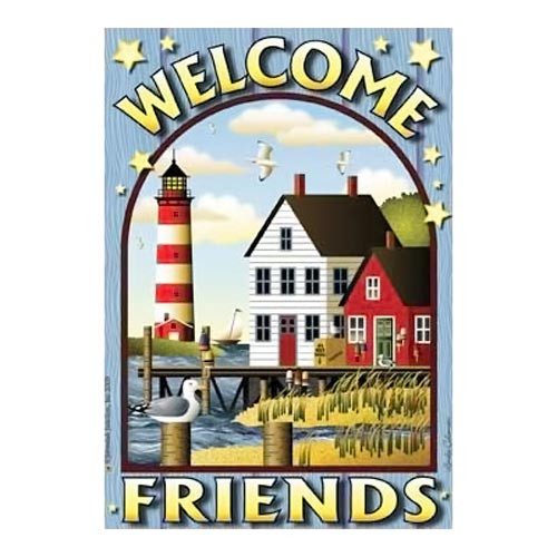 Bay Lighthouse Welcome Beach House Size Flag - JFL084L