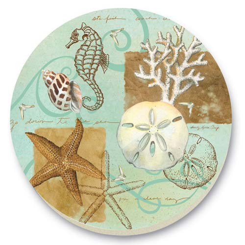 "Sea Shell Theme Stone Trivet ""Seashore Stroll"" - 15690"