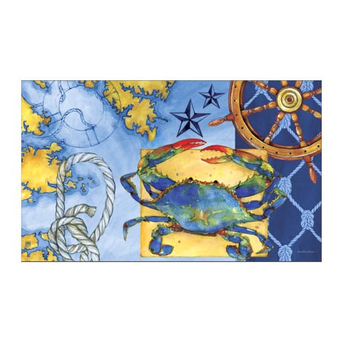 "Nautical Map Blue Crab Floor Mat - 18"" x 30"" - MatMates - 12046"