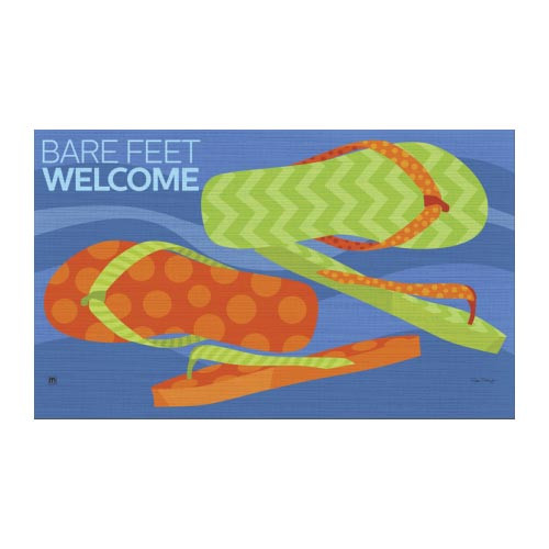"""Flip Flops Barefoot Welcome Floor Mat - 18"""" x 30"""" - MatMates - 16834D"""