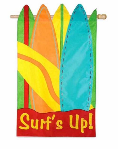 "Surfboard Applique Garden Flag ""Surf's Up""  12 1/2"" x 18""  - 161116"