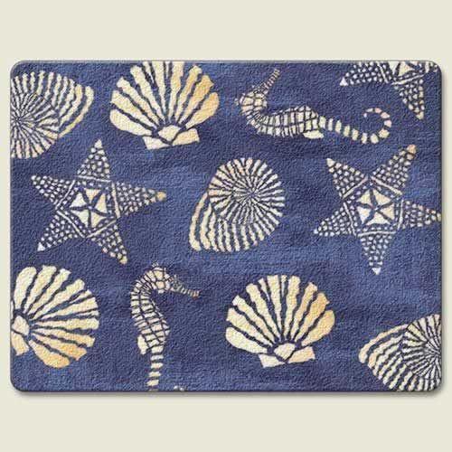 "Sea Shell ""White Sand Blue Sea"" Glass Surface Saver Cutting Board"