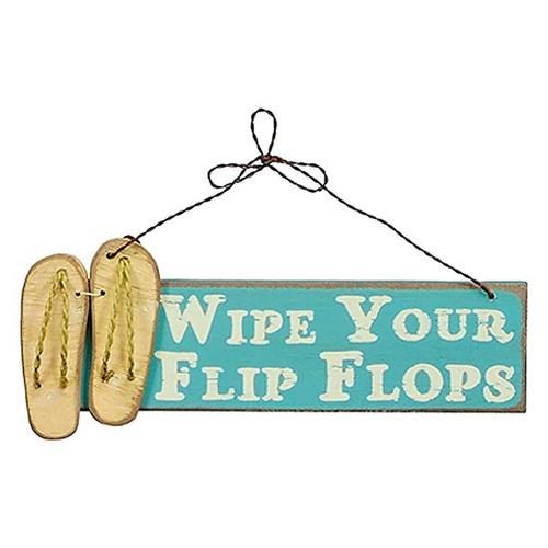 Wipe Your Flip Flops Wooden Sign - 17681