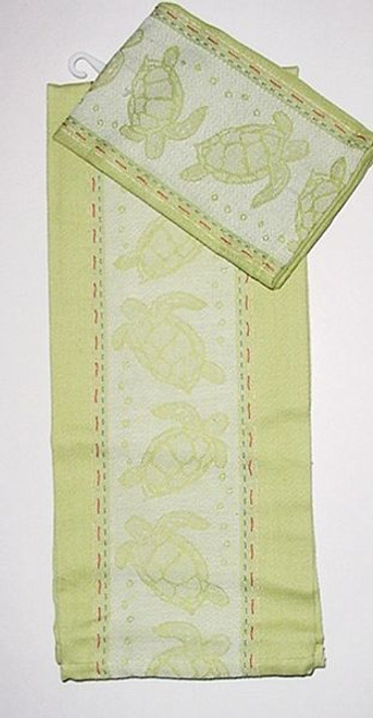Sea Turtle Jacquard Dish Towel and Dishcloth - 16830