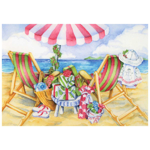 Beach Chairs Christmas Cards 10 Box C72797