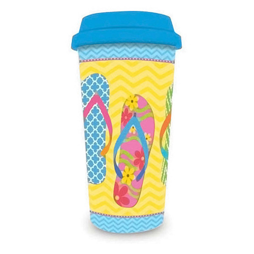 Yellow Flip Flops Plastic Travel Cup 770-21