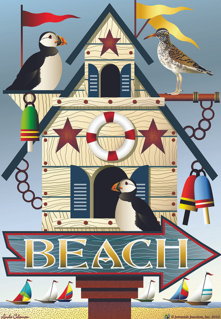 Beach Puffin Bird House Size Flag - JFL108L