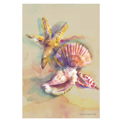 Watercolor Sandy Sea Shells GARDEN Flag - 1110197