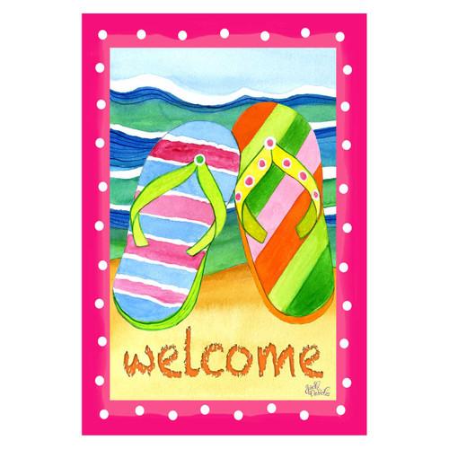 Colorful Striped Flip Flop Beach GARDEN Flag - 1110217