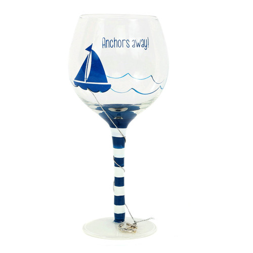 Anchors Away Glass Wine Glass 18oz - 20164