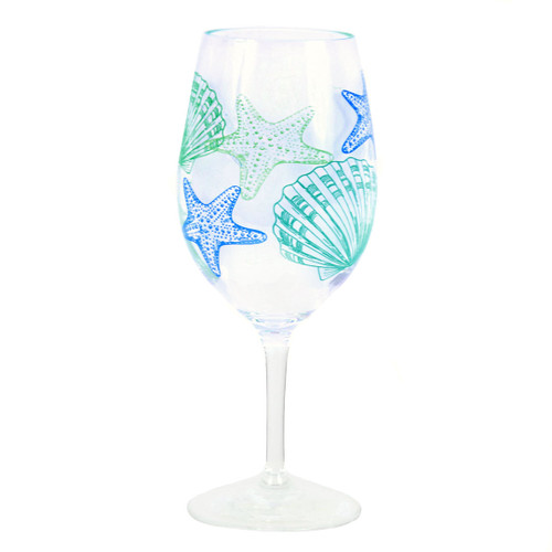 Shatterproof Starfish Shell Wine Glass Acrylic 20oz - 25246