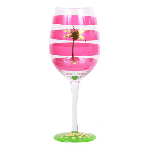 Gold Palm Tree Stripe Glass Wine Glass Pink 18oz - 60464P