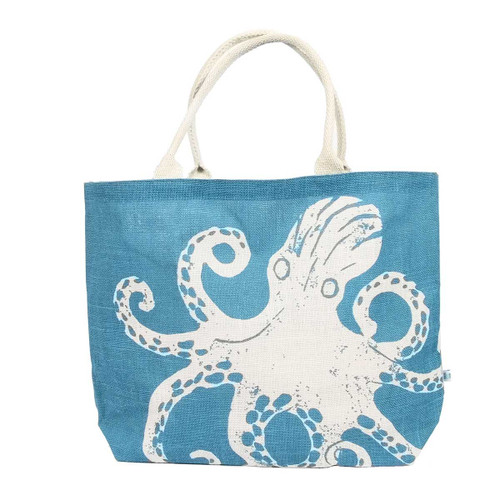Octapus Tropical Jute Oversize Tote Bag - 26034-Oct