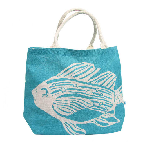 Tropical Fish Jute Oversize Tote Bag - 26034-F