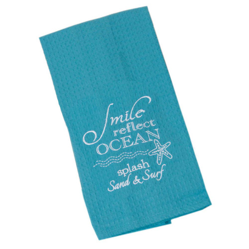 Ocean Smile Cotton Embroidered Waffle Towel F0773-O