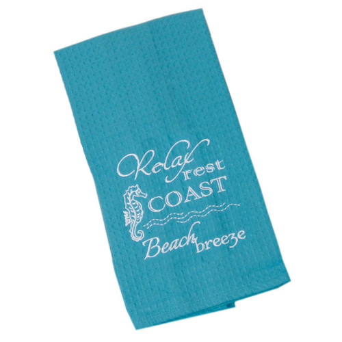 Coast Relax Beach Cotton Embroidered Waffle Towel F0773-C