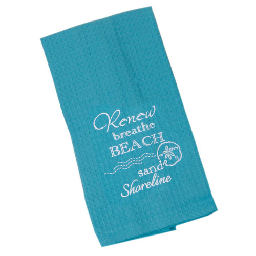 Beach Renew Breathe Sand Shoreline Cotton Embroidered Waffle Towel F0773-B