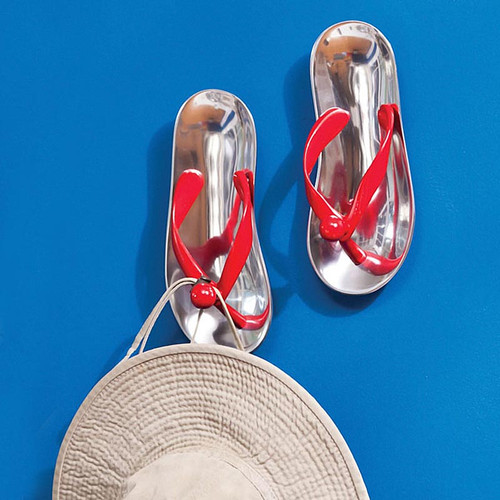 Set Two Flip Flop Aluminium Red Wall Hooks - 6M240