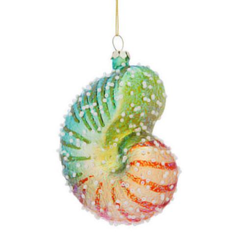 Sparkle Nautilus Sea Shell Ornament - 3OT444-N