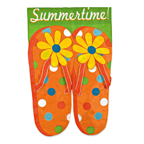 Summertime Flip Flops Applique Garden Flag 161139