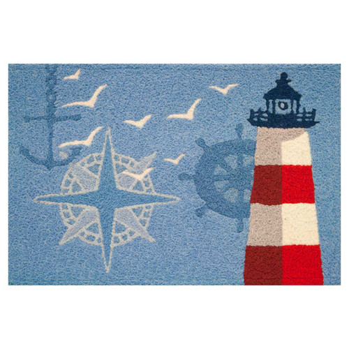 Lighthouse Nautical Compass Anchor Ship Wheel - Floor Rug - JB-ABR002