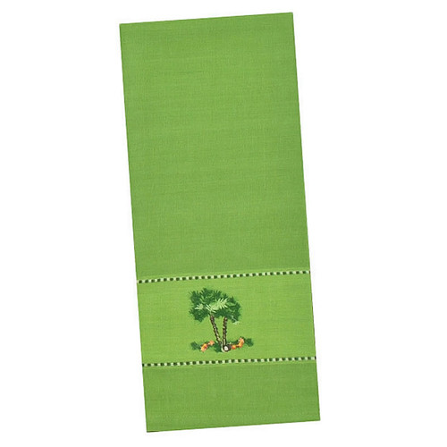 Green Palm Tree Embroidered Cotton Tea Towel - 26777