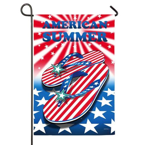 American Patriotic Summer Flip Flops GARDEN Flag - 14S2799