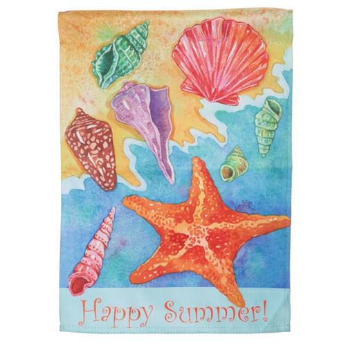 "Ocean Shells Happy Summer House Flag 28"" x 42"" - 13S3413"