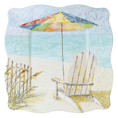"Seaside Hideaway Umbrella Soiree 8"" Square Lunch Plate Melamine 22061"