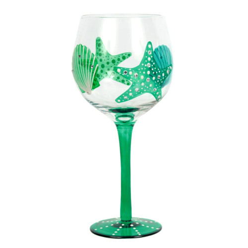 Handpainted Starfish Shell Wine Glass 18oz - 25243B