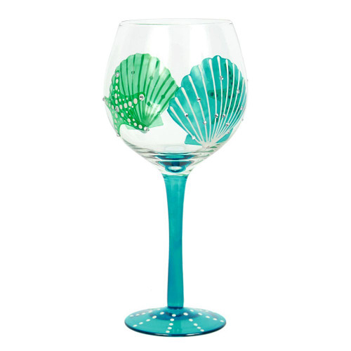 Handpainted Shell Starfish Wine Glass 18oz - 25243G