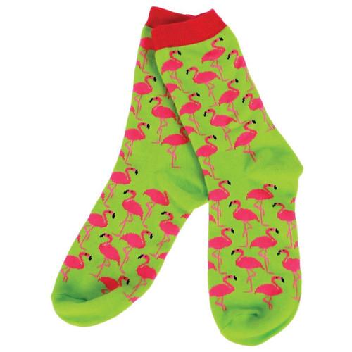 Socks Pink Flamingo on Lime Green - 10315