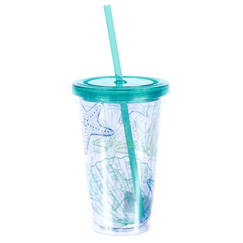 Shells Blue Insulated 18oz Plastic Tumbler with Lid & Straw - 25263B