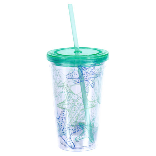 Shells Green Insulated 18oz Plastic Tumbler with Lid & Straw - 25263G